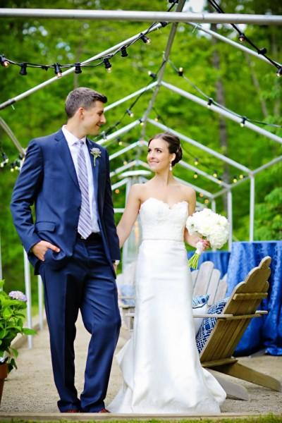 Bride and Groom under Edison Lights