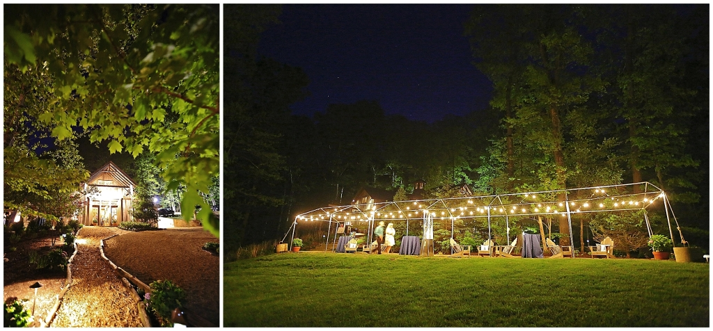 barn wedding light up for evening