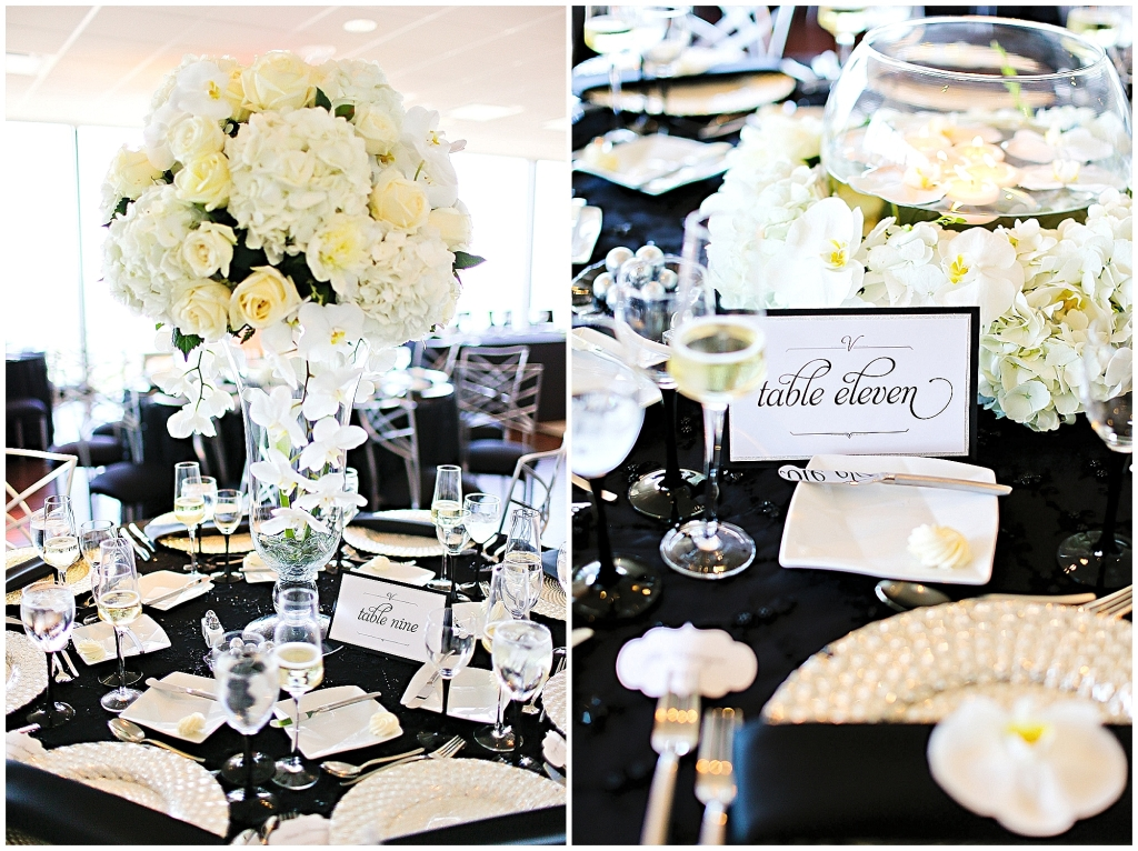 white flowers black linens charger plates