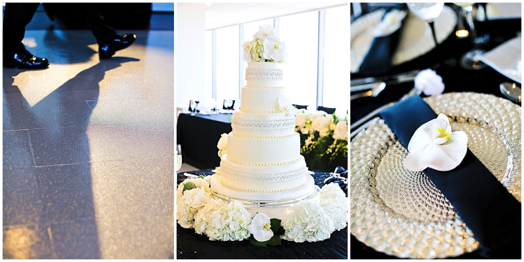 Black and White Wedding, Classic Cake, Silver Glitter Dance Floor