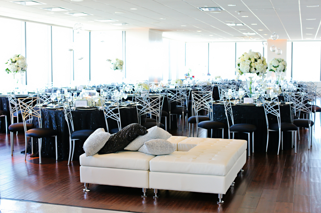 D'Amore Black and White Modern Wedding White Florals