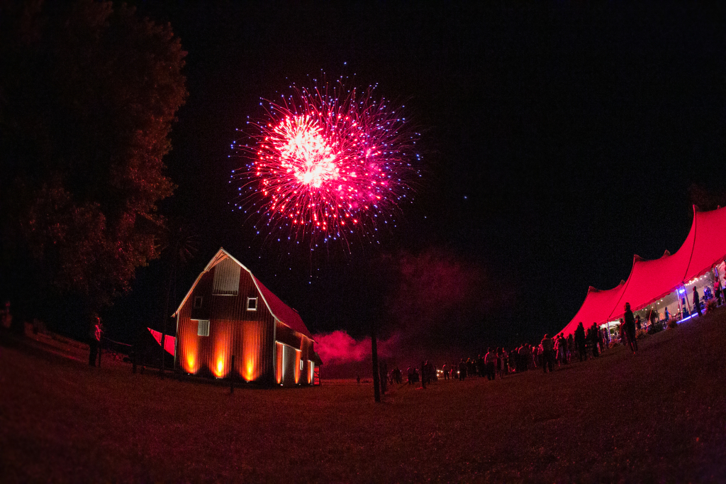 barn wedding fireworks