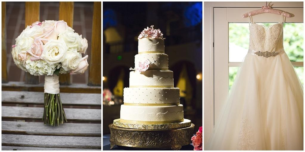 Blush Bridal Bouqut, Elegant Cake, Lace Gown